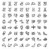 64 zwart-witte hand getrokken pictogrammen Stock Foto's