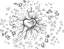 Zwart-witte hart geschetste krabbel stock foto