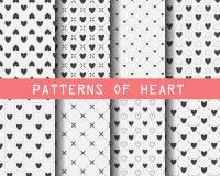 Zwart-witte hart naadloze patronen Royalty-vrije Stock Afbeeldingen