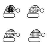 Zwart-witte het Pictogramreeks van de Kerstmishoed Royalty-vrije Stock Foto