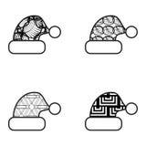 Zwart-witte het Pictogramreeks van de Kerstmishoed Stock Afbeelding