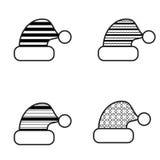 Zwart-witte het Pictogramreeks van de Kerstmishoed Stock Foto's