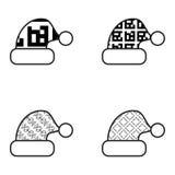 Zwart-witte het Pictogramreeks van de Kerstmishoed Royalty-vrije Stock Afbeelding