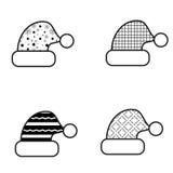 Zwart-witte het Pictogramreeks van de Kerstmishoed Stock Fotografie