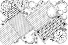 Zwart-witte het plan van de tuin Stock Afbeeldingen
