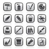 Zwart-witte het schilderen en kunstobjecten pictogrammen Royalty-vrije Stock Fotografie