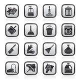 Zwart-witte het schoonmaken en hygiënepictogrammen Royalty-vrije Stock Afbeelding
