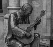 Zwart-witte het Standbeeld van Lissabon Fado stock foto's