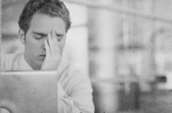 Zwart-witte hoofdpijn Stock Foto's
