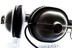 Zwart-witte Hoofdtelefoon Royalty-vrije Stock Afbeelding