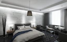 Zwart-witte Hotelzaal Stock Afbeeldingen