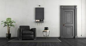 Zwart-witte huisingang Stock Foto