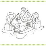 Zwart-witte illustratie van een huis Stock Afbeelding