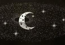 Zwart-witte illustratie van een kosmische scène Stock Afbeeldingen