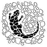 Zwart-witte illustratie van hagedis Stock Foto