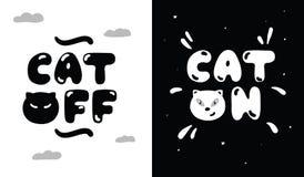 Zwart-witte illustratie van levensstijl van katten dag en nacht Stock Foto