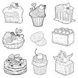 Zwart-witte inzameling van zoete gebakjes Cakes, cupcakes Royalty-vrije Stock Foto