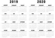 2019-2020 Zwart-witte Kalender royalty-vrije stock foto