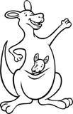 Zwart-witte kangoeroe - Royalty-vrije Stock Afbeeldingen