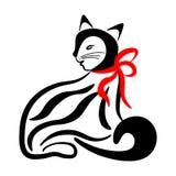 Zwart-witte kat vector illustratie