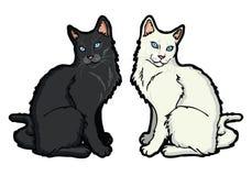Zwart-witte kat royalty-vrije illustratie