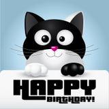 Zwart-witte kat die een gelukkige kaart van de verjaardagsgroet houden - illustratie Stock Afbeeldingen