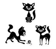 Zwart-witte katten vector illustratie