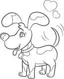 Zwart-witte kawaiitekening van een kleine hond, met harten over zijn hoofd, voor de kleuringsboek van kinderen of de Dagkaart van vector illustratie