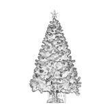 Zwart-witte Kerstboom Stock Afbeelding