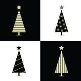 Zwart-witte Kerstmisbomen Royalty-vrije Stock Foto's