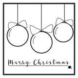 Zwart-witte Kerstmisornamenten Stock Fotografie