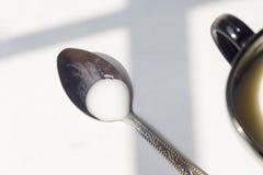 Zwart-witte kop van melk, koffie op natuurlijke achtergrond, hoogste mening Stock Fotografie