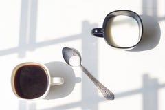 Zwart-witte kop van melk, koffie op natuurlijke achtergrond, hoogste mening Royalty-vrije Stock Foto