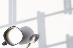 Zwart-witte kop van melk, koffie op natuurlijke achtergrond, hoogste mening Royalty-vrije Stock Afbeeldingen
