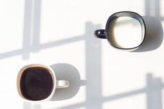 Zwart-witte kop van melk, koffie op natuurlijke achtergrond, hoogste mening Stock Afbeeldingen