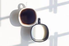 Zwart-witte kop van melk, koffie op natuurlijke achtergrond, hoogste mening Royalty-vrije Stock Afbeelding
