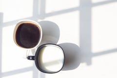 Zwart-witte kop van melk, koffie op natuurlijke achtergrond, hoogste mening Royalty-vrije Stock Foto's