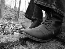 Zwart-witte Laarzen Stock Foto
