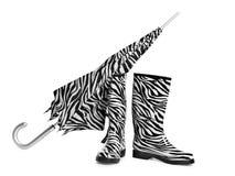 Zwart-witte laarzen en paraplu Royalty-vrije Stock Afbeelding