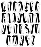 Zwart-witte lange die 3d doopvont met ronde vormen wordt gemaakt Royalty-vrije Stock Afbeeldingen