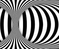 Zwart-witte lijnenoptische illusie Abstracte gestreepte spiraalvormige vectorachtergrond royalty-vrije illustratie