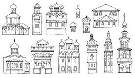 Zwart-witte lijntekening, cityscape architecturale elementen ve stock illustratie