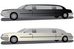 Zwart-witte limousines. royalty-vrije illustratie