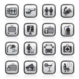 Zwart-witte luchthaven, reis en vervoerspictogrammen Royalty-vrije Stock Afbeeldingen