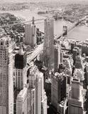 Zwart-witte luchtmening van Stad de van de binnenstad van New York Royalty-vrije Stock Fotografie