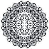 Zwart-witte Mandala, stammen etnisch ornament Stock Foto