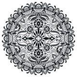 Zwart-witte Mandala, stammen etnisch ornament Stock Afbeelding