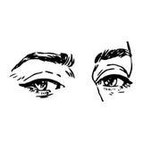 Zwart-witte manierillustratie met oog Stock Foto