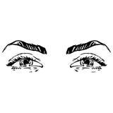 Zwart-witte manierillustratie met oog Stock Afbeelding