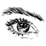 Zwart-witte manierillustratie met oog Stock Fotografie